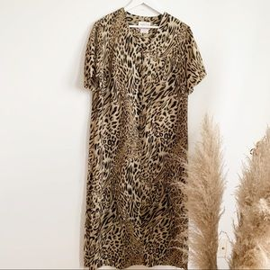 Vintage Animal Print Maxi Side Split Dress Size 16